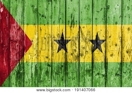 Flag of Sao Tome and Principe painted on wooden frame