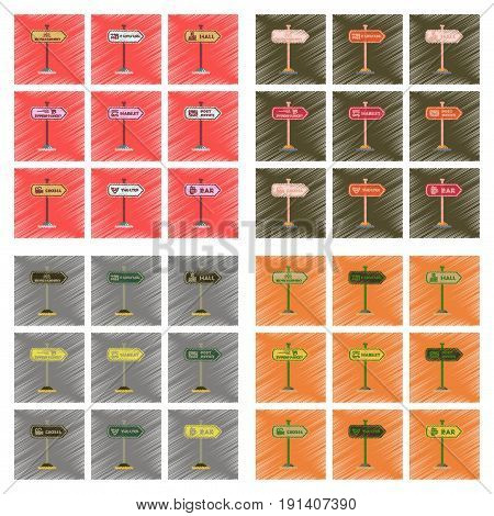 assembly flat shading style icons of sign bar post office mall car wash cinema supermarket