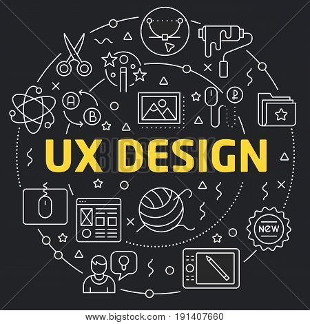 Linear illustration for presentations in the round ux design