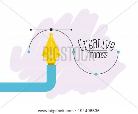 colorful background fountain pen graphic tool creative process vector illustration