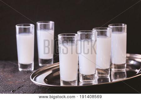 Arabic Alcohol Raki With Anis And Ice. Arak, Ouzo