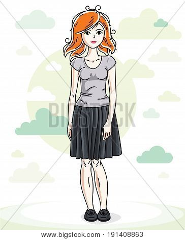 Beautiful young redhead woman posing on background with blue heavens clouds and wearing fashionable casual clothes. Vector attractive female illustration. Lifestyle theme cartoon.