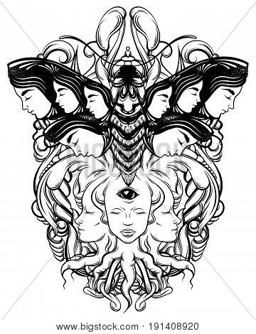 Vector hand drawn illustration of fortune teller with three eyes and moth. Hand sketched creative artwork. Template for card poster banner print for t-shirt. Tattoo art.