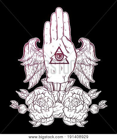 Vector hand drawn illustration of hand of witch with wings. Tattoo hand sketched artwork with flowers. All seeing eye pyramid symbol. Template for card poster banner print for t-shirt.