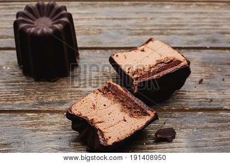 Chocolate souffle home baked in wooden background