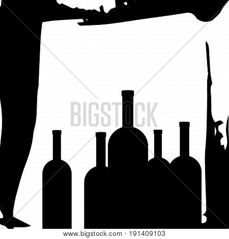 wine glass alcohol bottle drink vector illustration