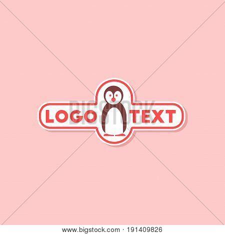 paper sticker on stylish background of penguin logo