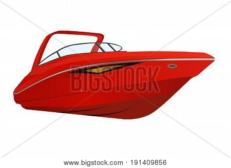 Vector illustration of red modern motor boat.