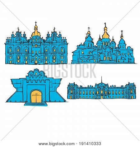 Kyiv, Ukraine, Colored Landmarks