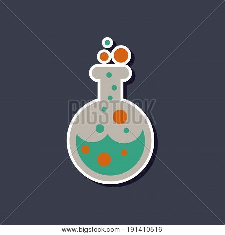 paper sticker on stylish background of halloween potion bottle