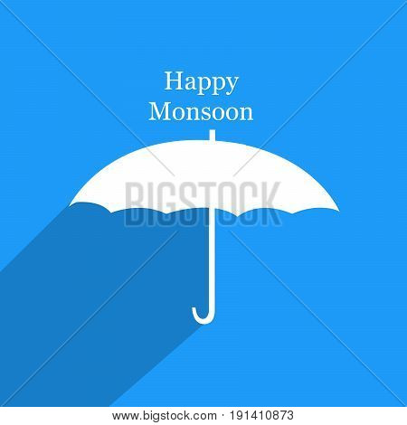 illustration of umbrella with happy monsoon text