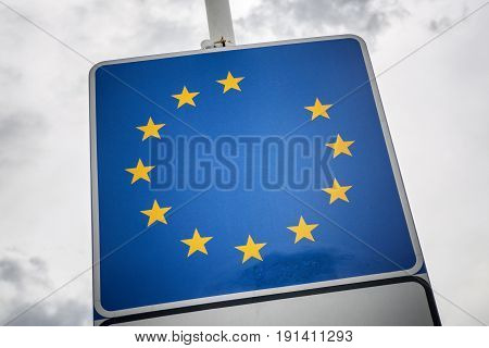 The collapse of the European Union. EU sign without stars. Brexit