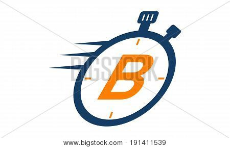 This image describe about Letter B Stopwatch Logo