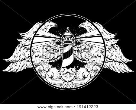 Vector hand drawn illustration of lighthouse with rays and waves. Tattoo artwork with wings. Template for card poster banner print for t-shirt.