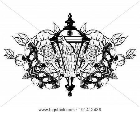 Vector hand drawn illustration of lantern with melting candle and plants. Hand sketched artwork with flowers and moth. Tattoo art. Template for card poster banner print for t-shirt coloring books.