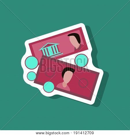 paper sticker on stylish background Banknotes and coins