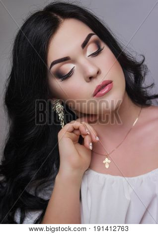 Fashion model with evening professional make-up eye make-up make-up