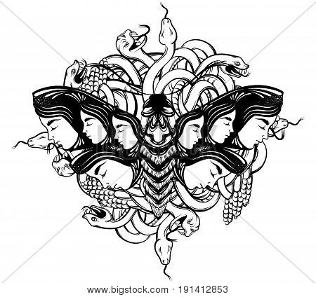 Vector hand drawn illustration of moth with female faces on the wings with flowers and bunch of snakes. Tattoo art. Template for card poster banner print for t-shirt.