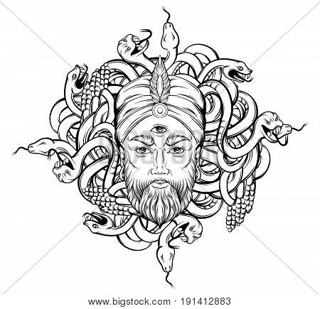 Vector hand drawn illustration of fortune teller with three eyes and bunch of snakes. Hand sketched creative artwork. Template for card poster banner print for t-shirt. Tattoo art.
