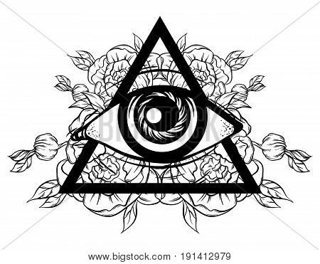 Vector hand sketched illustration. All seeing eye pyramid symbol with flowers. New World Order. Hand drawn Eye of Providence. Alchemy religion spirituality occultism tattoo art. Template for poster print for t-shirt.