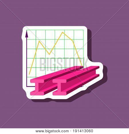 paper sticker on stylish background Falling graph