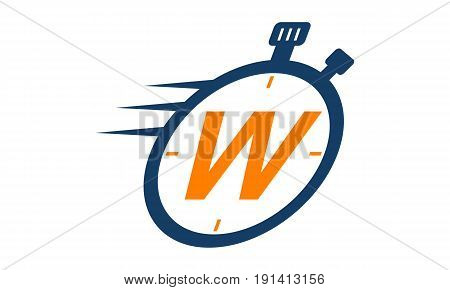 This image describe about Letter W Stopwatch Logo