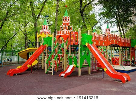 Children's playground in the Moscow courtyard Russia.