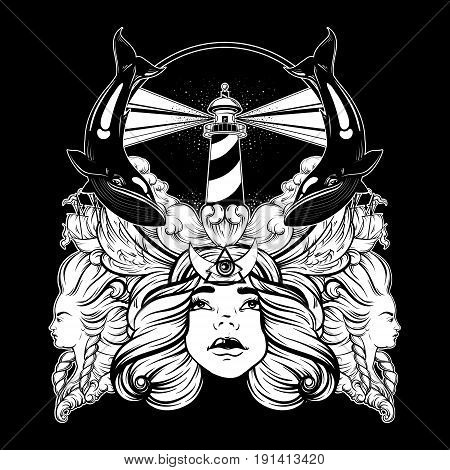 Vector hand drawn illustration of lighthouse with rays and waves. Tattoo artwork with portrait of pretty girl whales ships. Template for card poster banner print for t-shirt.