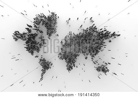 3D Abstract Background With World Map.