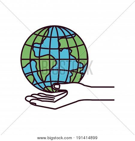 silhouette color sections hand palm giving a earth globe world charity symbol vector illustration
