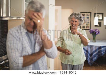 Angry senior woman shouting on senior man at home