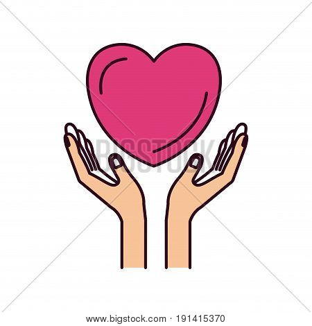 silhouette color sections hands with floating heart charity symbol vector illustration