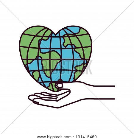 silhouette color sections hand palm giving a earth globe world in heart shape vector illustration