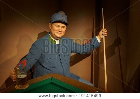 May 8. 2017 Museum of wax statues Grevin in the capital of the Czech Republic in Prague: Rudolf Hrusinsky - actor known as a good soldier Svejk