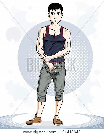Handsome brunet young man posing. Vector illustration of sportsman. Work out and training theme.