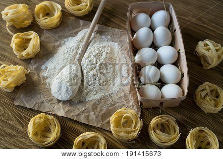 The preparations for making homemade Italian pasta.