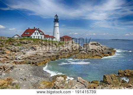 A Classic New England Lighthouse. The Portland Head Light