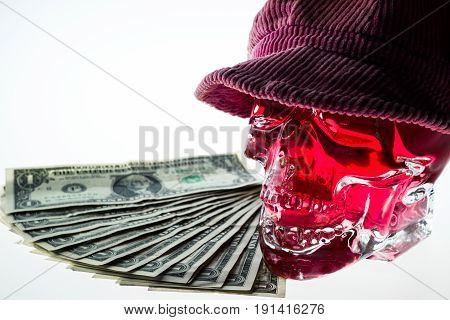 Red crystal skull glass brainpan with cap and dollar money