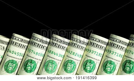 Dollar staircase with black background dollar rolled money