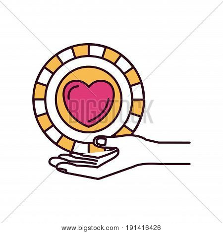 silhouette color sections hand palm giving a coin with heart shape inside charity symbol vector illustration