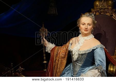 May 8. 2017 Museum of wax statues Grevin in the capital of the Czech Republic in Prague: Marie Theresa - Queen