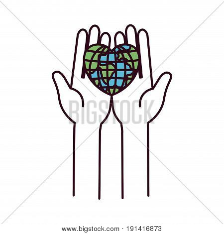 silhouette color sections front view hands holding in palms a earth globe world in heart shape vector illustration