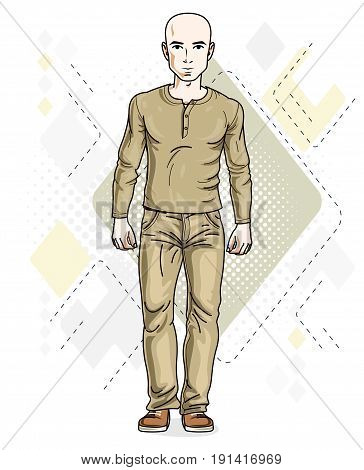 Handsome hairless young man poses on modern background. Vector illustration of male wearing jeans and sweatshirt. Lifestyle theme clipart.