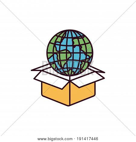 silhouette color sections globe earth world coming out of cardboard box vector illustration