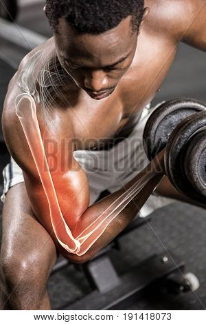 Digitally generated image of shirtless man doing excercise with dumbbells at gym