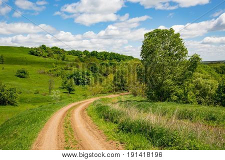 landscape with rural road turn