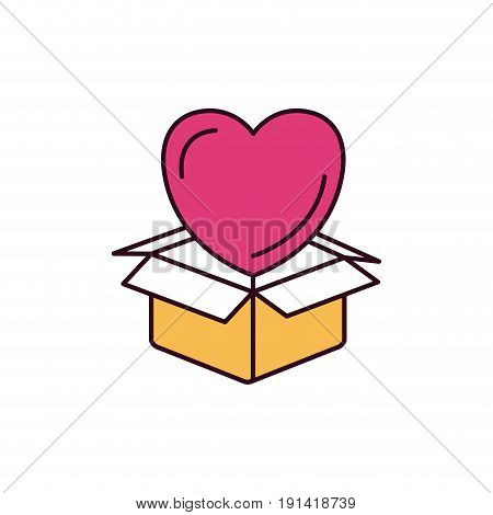 silhouette color sections heart coming out of cardboard box vector illustration