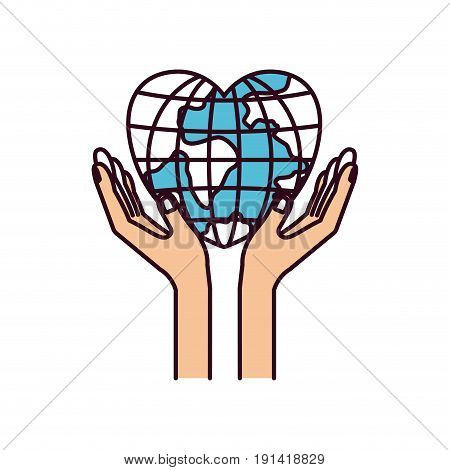 silhouette color sections hands with floating earth globe world in heart shape vector illustration