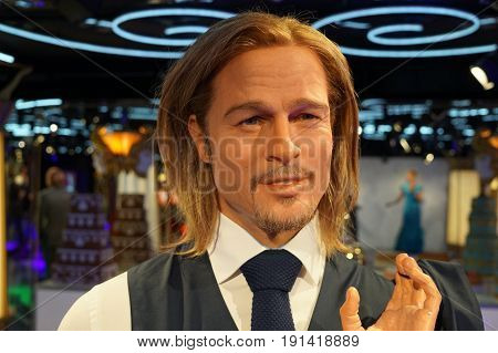 May 8. 2017 Museum of wax statues Grevin in the capital of the Czech Republic in Prague: Brad Pitt - Movie actor