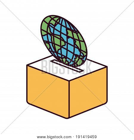 silhouette color sections flat globe earth world depositing in a carton box vector illustration